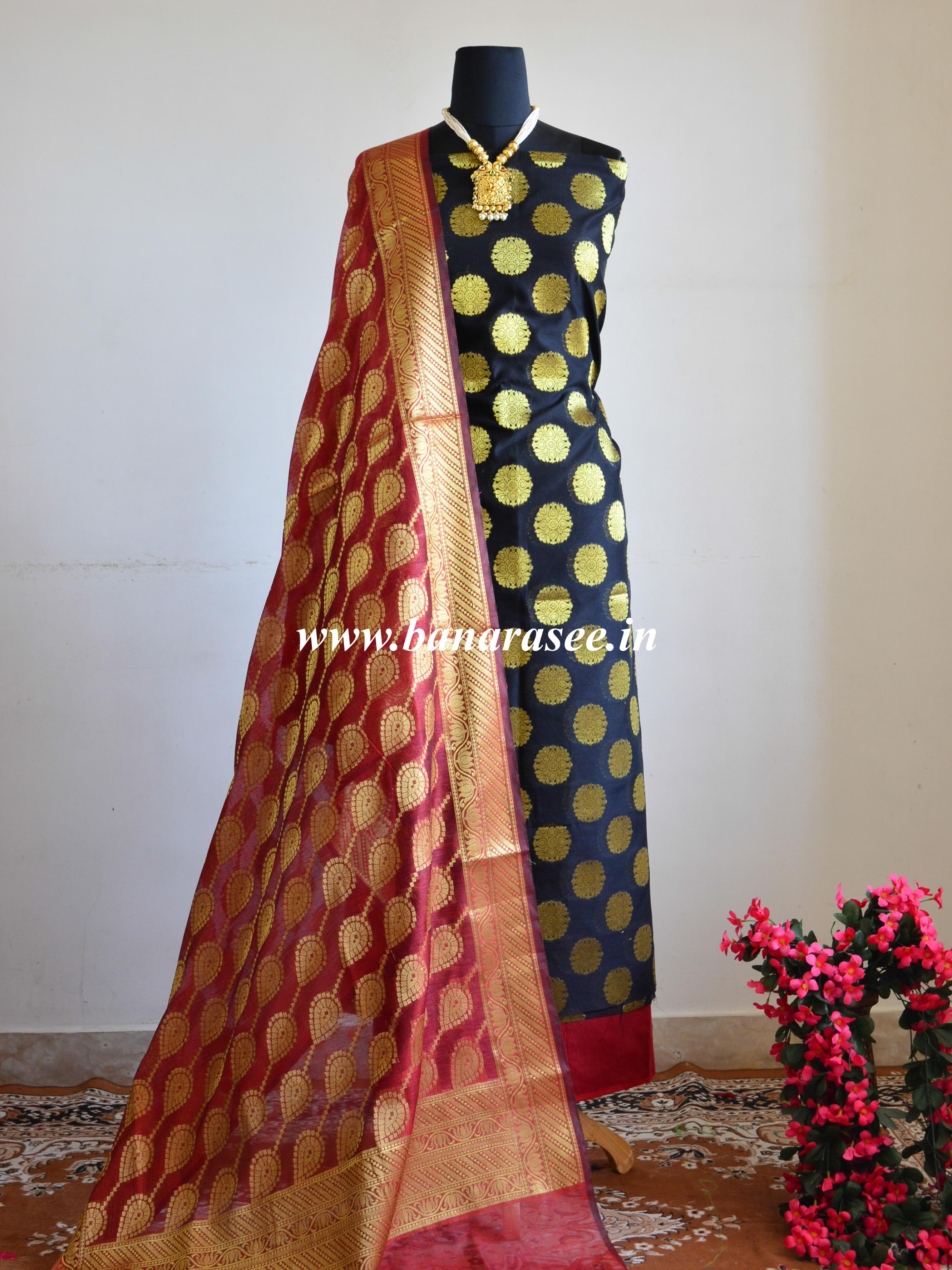 Banarasee Chanderi Cotton Salwar Kameez Buta Design Fabric With Contrast Dupatta-Black