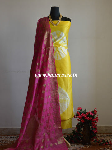 Banarasee Shibori Dyed Chanderi Salwar Kameez Fabric With Pink Dupatta-Yellow