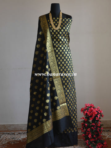 Banarasee Semi Silk Salwar Kameez Fabric With Zari Buta Dupatta-Black