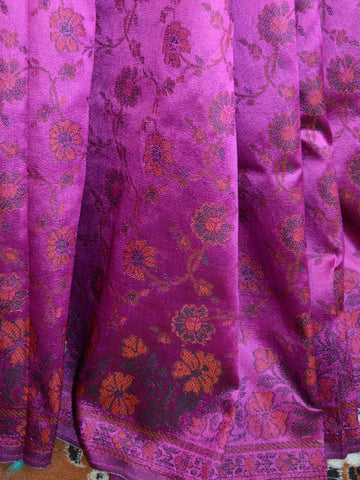 Banarasee Art Silk Saree With Floral Woven Design Contrast Beige Pallu-Magenta