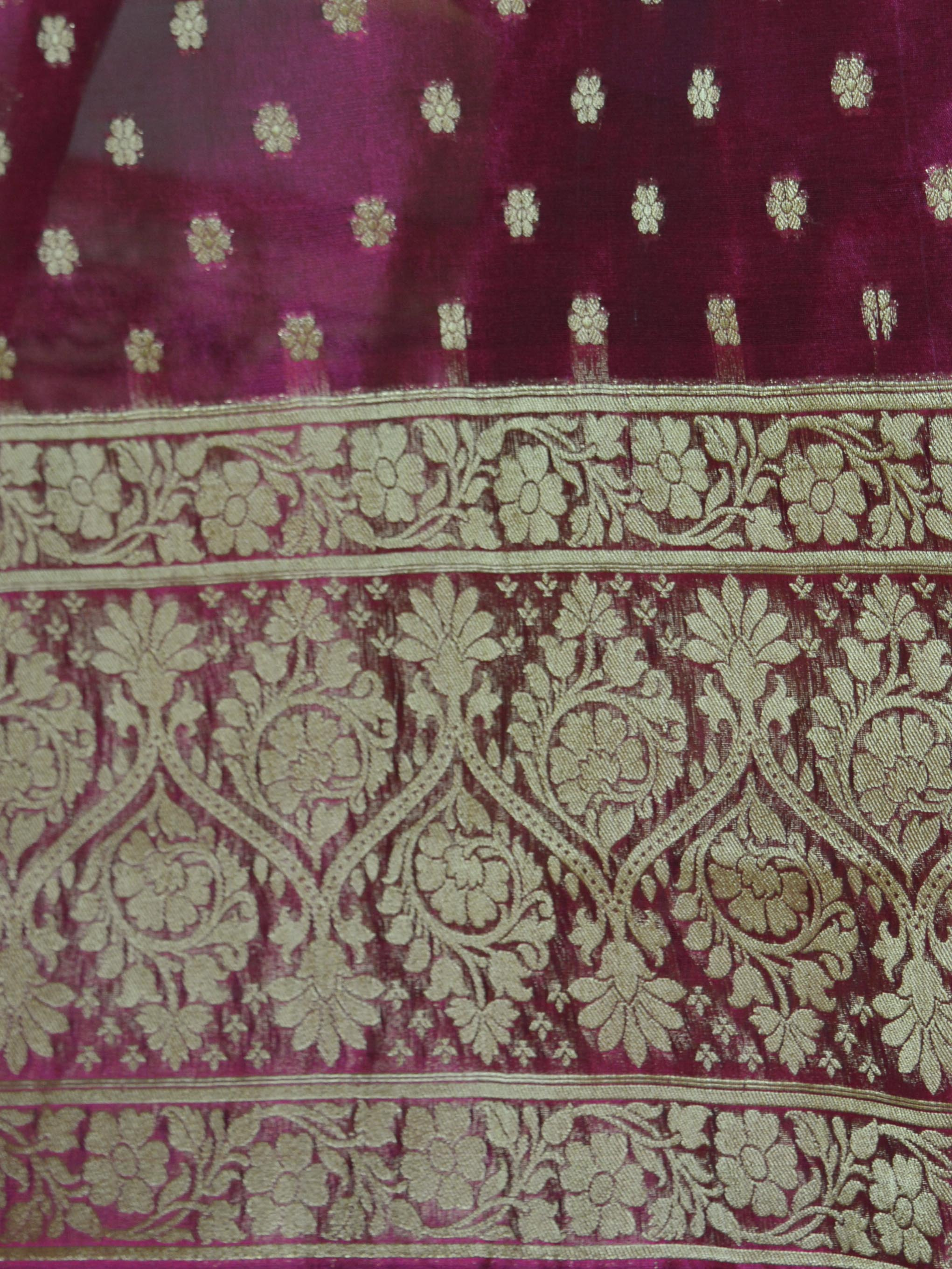 Banarasee Salwar Kameez Cotton Silk Gold Zari Jaal Woven Fabric-Magenta