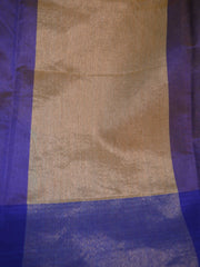 Banarasee Soft Cotton Sari With Contrast Border Plain Saree-Blue