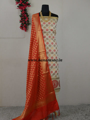 Banarasee Cotton Silk Floral Buti  Salwar Kameez Fabric With Contrast Art Silk Dupatta-Beige