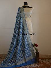 Banarasee Chanderi Cotton Salwar Kameez Fabric With Bandhini Dupatta-Off-White