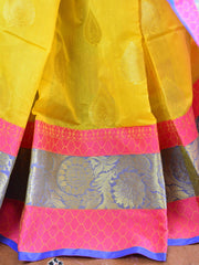 Banarasee Handloom Silk Cotton Saree With Zari Buti & Contrast Floral Border-Yellow