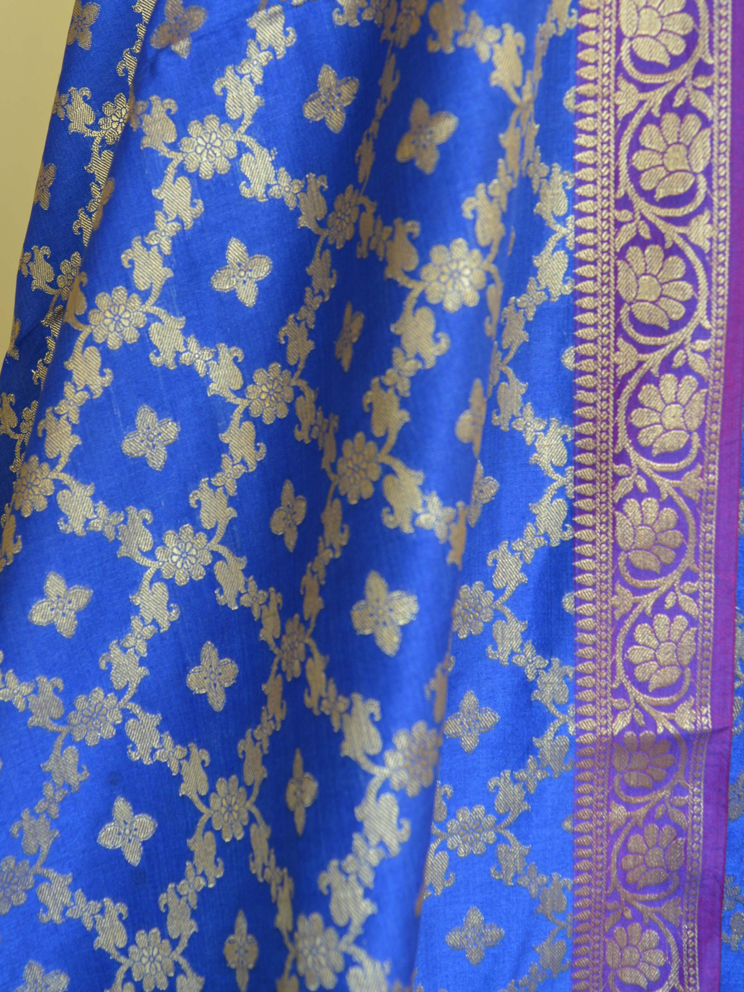 Banarasee Semi Silk Salwar Kameez Fabric With Zari Jaal Dupatta-Royal Blue