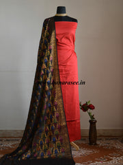 Banarasee Cotton Silk Plain Salwar Kameez Fabric With Tussar Silk Dupatta-Red
