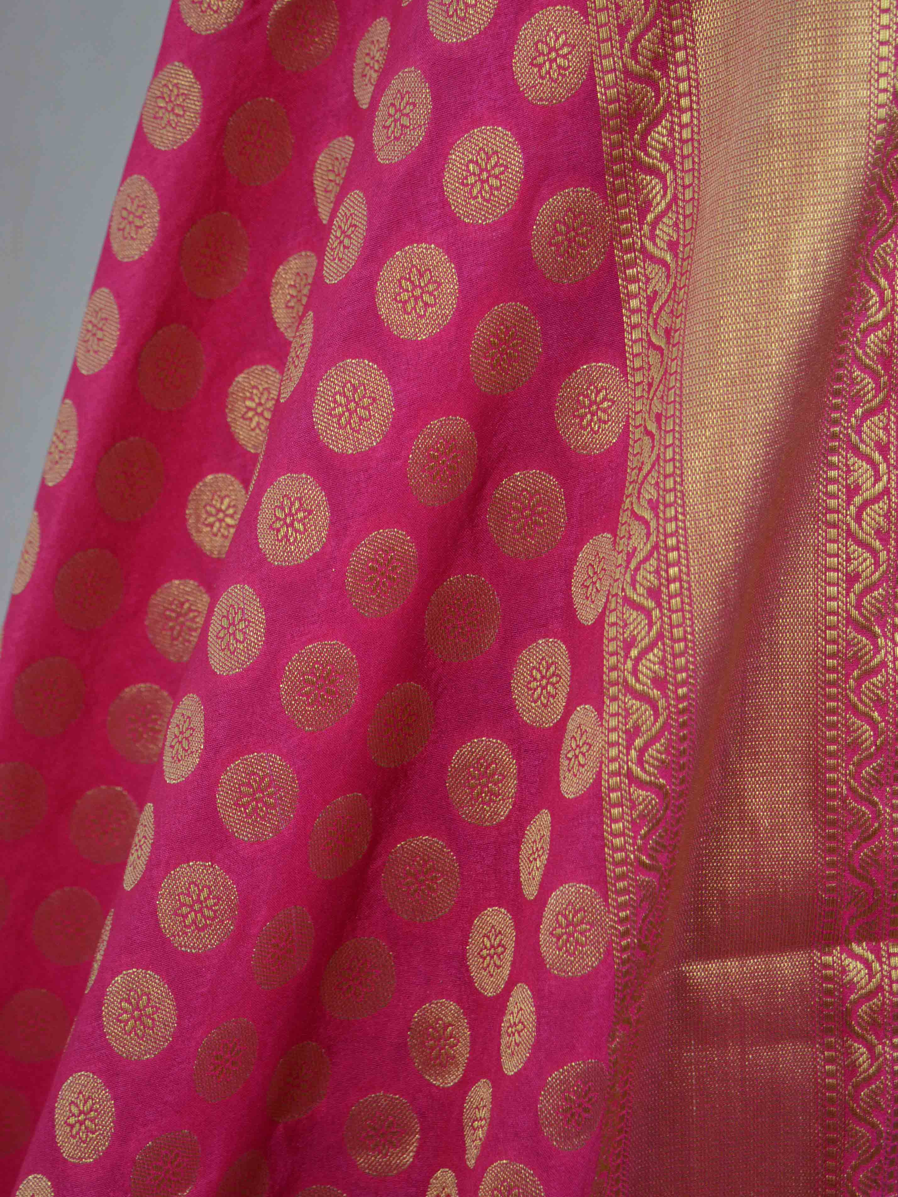 Banarasee Semi Silk Salwar Kameez Fabric With Pink Art Silk Dupatta-Purple(Dual Tone)