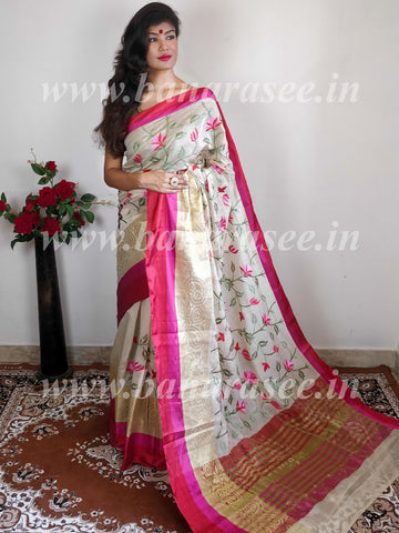 Banarasee Cotton Silk Saree With Multicolor Floral Embroidery & Contrast Satin Border-Off White