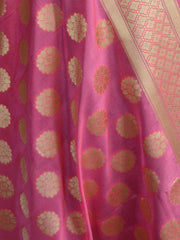 Banarasee Art Silk Dupatta Circle Buti Design-Peach