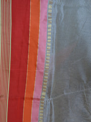 Banarasee Cotton Silk Mix Saree With Stripes Design & Red Satin Border-Off-White