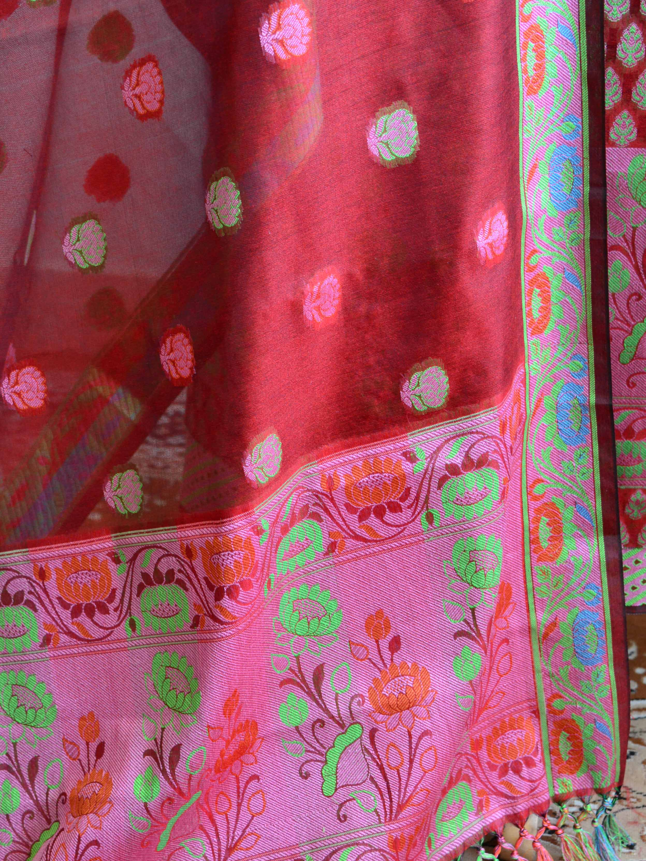 Banarasee Salwar Kameez Cotton Silk Multicolor Resham Buti Woven Fabric-Red