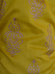 Banarasee Salwar Kameez Chanderi Cotton With Gold Print Fabric & Grey Dupatta-Yellow & Grey