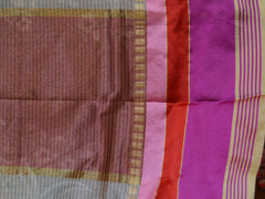 Banarasee Cotton Silk Mix Saree With Stripes Design & Pink Satin Border-Off-White