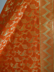 Art Silk Dupatta With Floral Jaal Design-Orange
