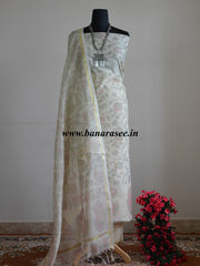 Banarasee Cotton Salwar Kameez Printed Fabric-Off White