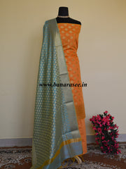 Banarasee Chanderi Cotton Salwar Kameez Broad Border Design Fabric With Blue Dupatta-Rust