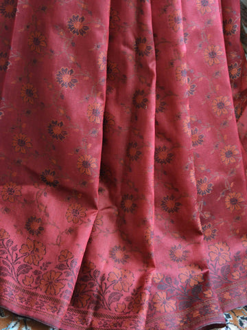 Banarasee Art Silk Saree With Floral Woven Design Contrast Pallu-Maroon