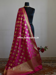 Banarasee Art Silk Dupatta With Drop Motif Design-Hot Pink