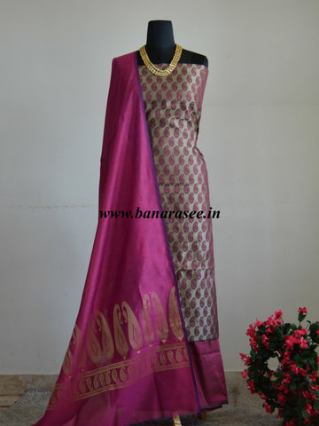 Banarasee Silk Cotton Salwar Kameez Paisley Design Fabric With Zari Buti Dupatta-Magenta