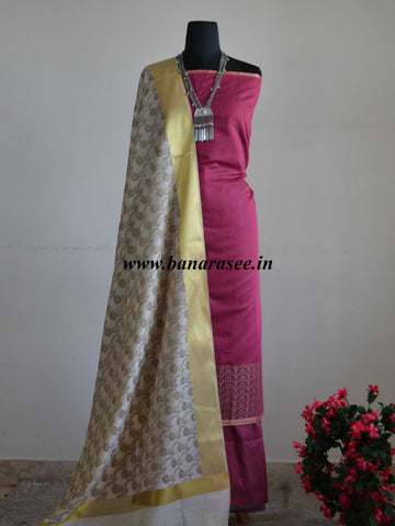 Banarasi Salwar Kameez Cotton Silk Woven Ghicha Border Design Fabric With White Dupatta-Purple