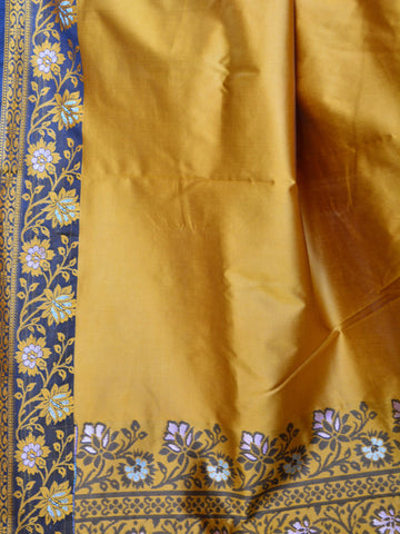 Banarasee Art Silk Saree With Floral Woven Contrast Pallu & Border-Mustard