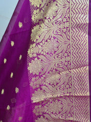 Banarasee Cotton Silk With Resham Woven Broad Border Dupatta-Purple