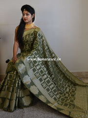 Banarasee Cotton Silk Zari Woven Swastik Design Saree-Olive Green