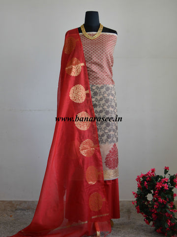 Banarasee Salwar Kameez Cotton Silk Red Meena Design Fabric With Contrast Tree Buta Dupatta-Beige