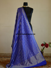 Banarasee Art Silk Buti Design-Royal Blue