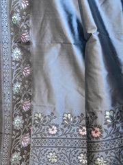 Banarasee Art Silk Saree With Floral Woven Contrast Pallu & Border-Grey