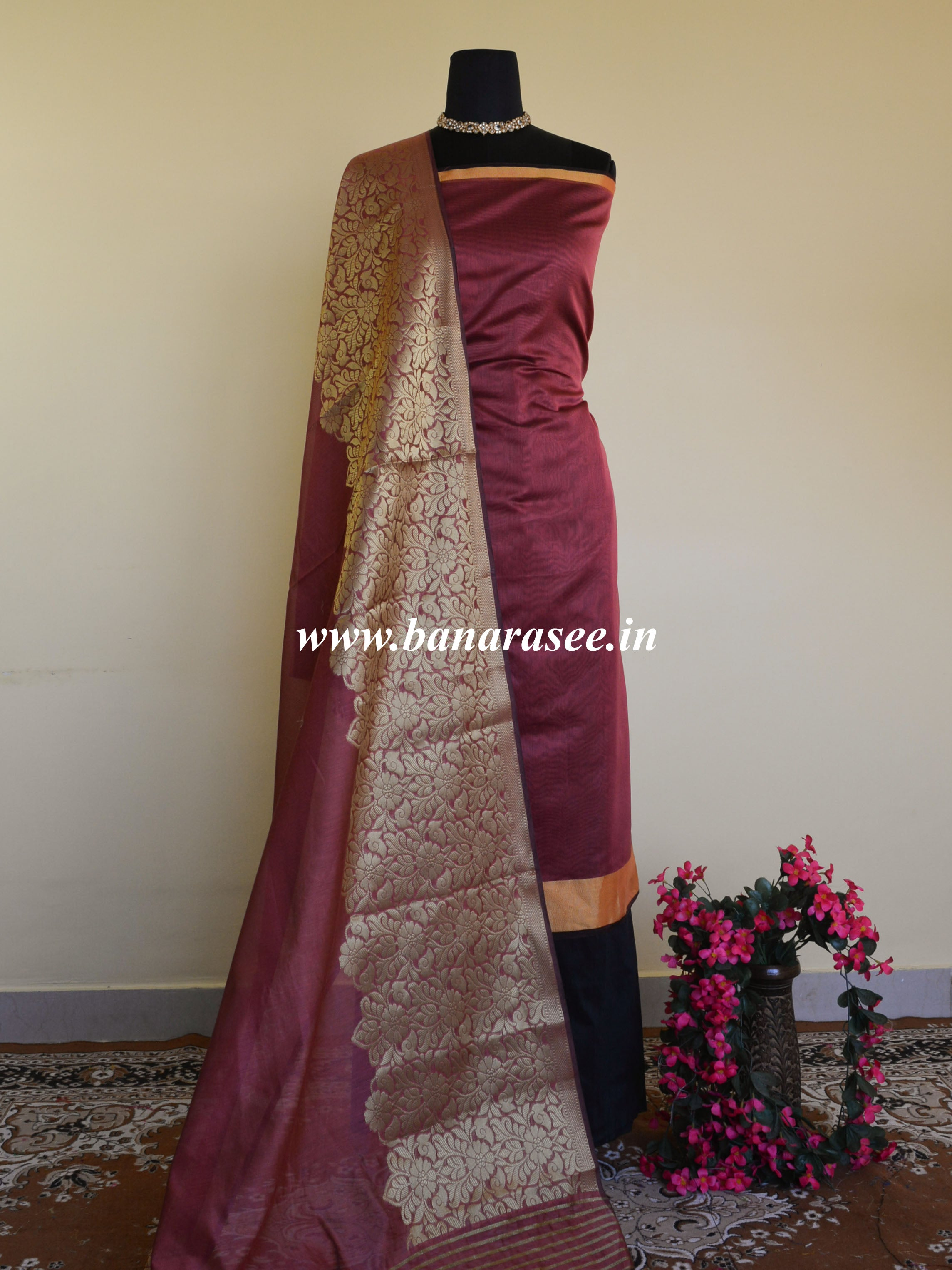 Banarasee Cotton Silk Salwar Kameez With Zari Border & Dupatta-Maroon
