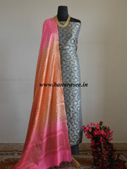 Banarasee Salwar Kameez Semi Silk Zari Jaal Work Fabric & Multicolor Dupatta-Grey