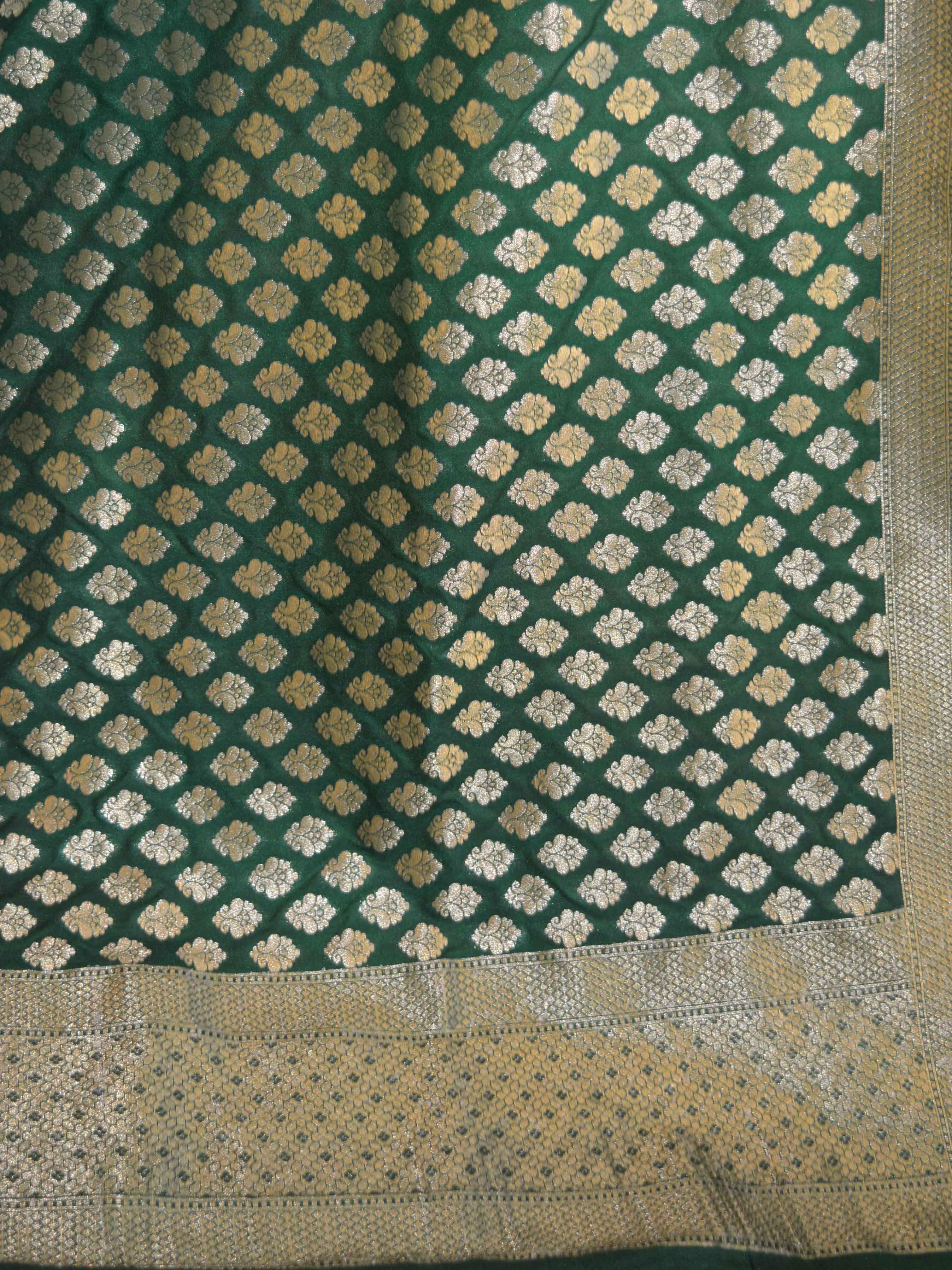 Banarasee Art Silk Buti Design-Deep Green