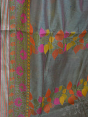 Banarasee Soft Cotton Silk Mix Saree With Multicolor Resham Floral Design-Green