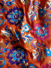 Banarasee Pure Kimkhwab Floral Jaal Semi Silk Fabric-Orange