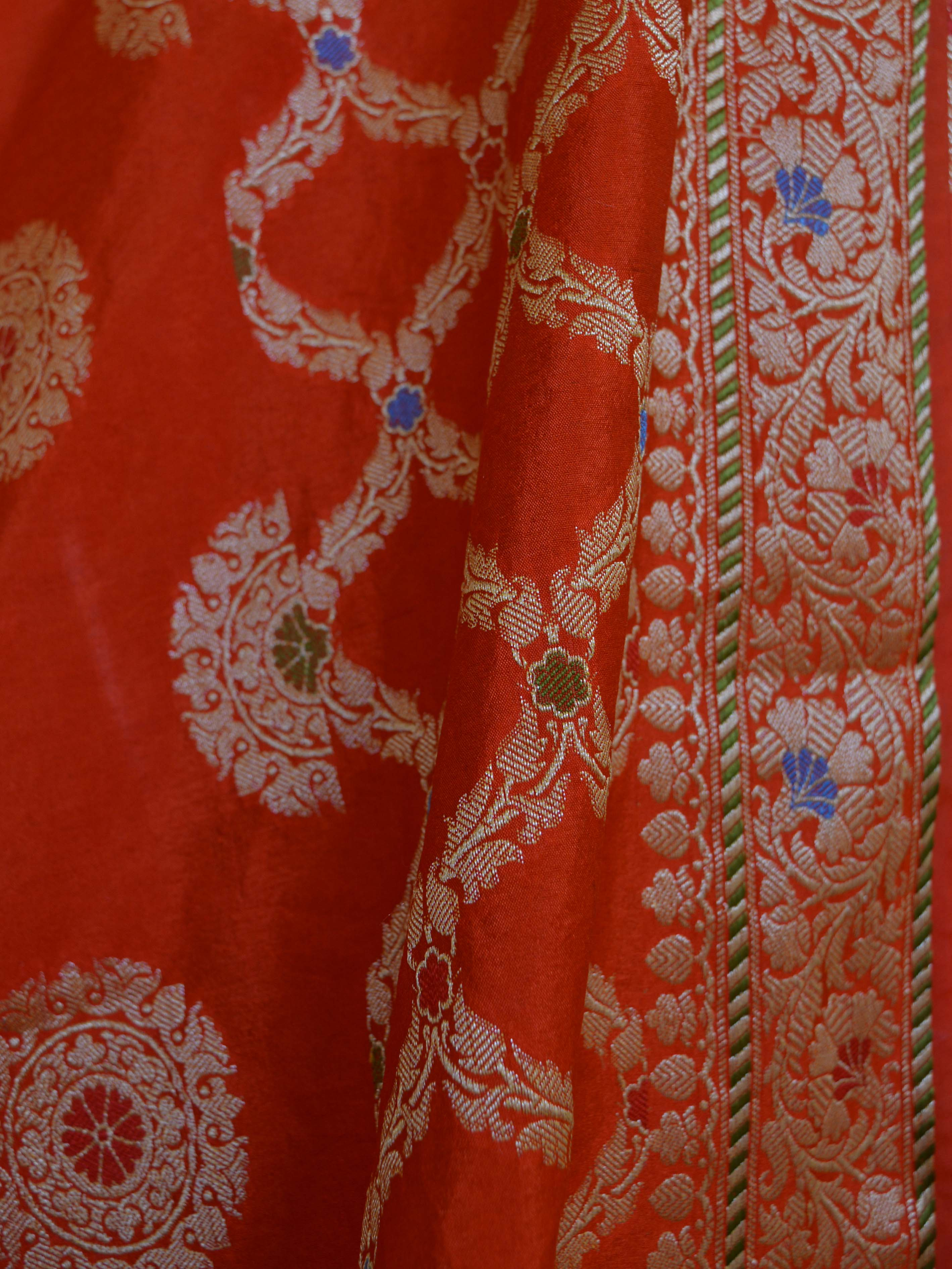 Banarasee Salwar Kameez Glossy Semi Silk Zari & Meena Buta Work Fabric-Bright Orange