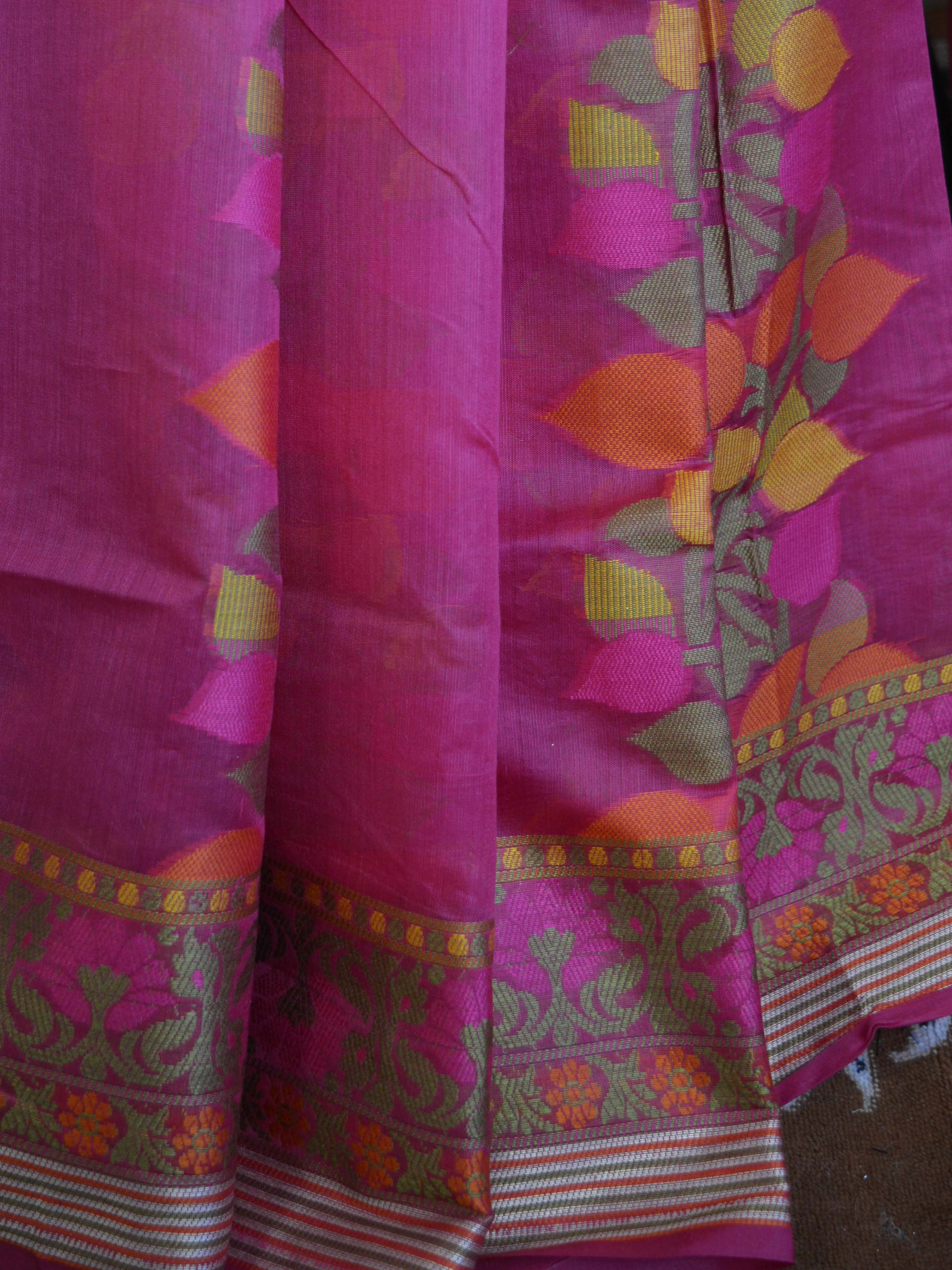 Banarasee Soft Cotton Silk Mix Saree With Multicolor Resham Floral Design-Pink