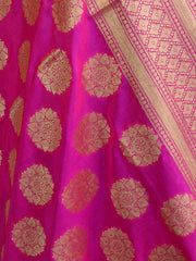 Banarasee Art Silk Dupatta Circle Buti Design-Hot Pink