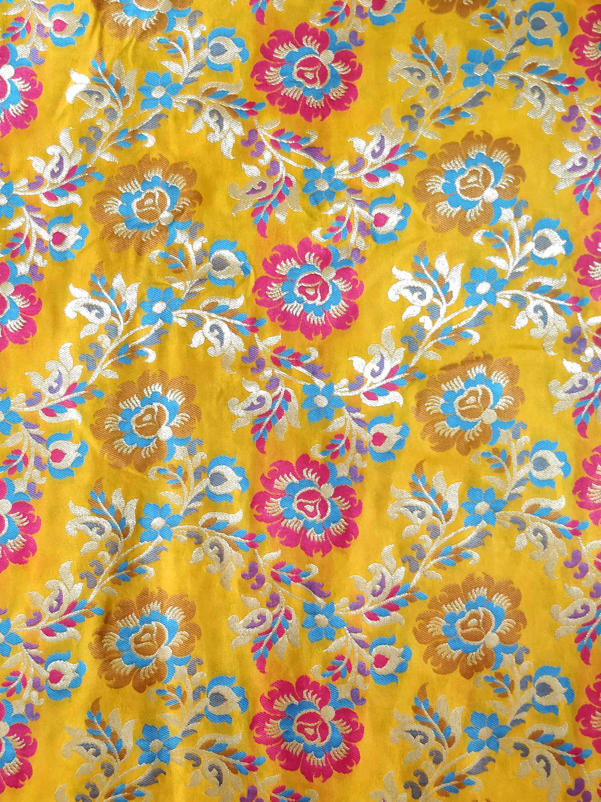 Banarasee Pure Kimkhwab Floral Jaal Semi Silk Fabric-Yellow