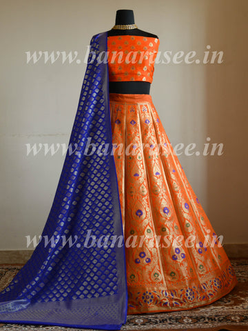 Banarasee Handwoven Art Silk Unstitched Lehenga & Blouse Fabric With Meena Design-Orange