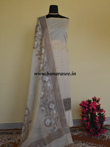 Banarasee Cotton Silk Salwar Kameez With Ghicha Border & Dupatta-Off White