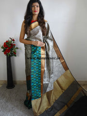 Banarasee Cotton Silk Tanchoi Weave Saree With Green Woven Floral Border-Grey