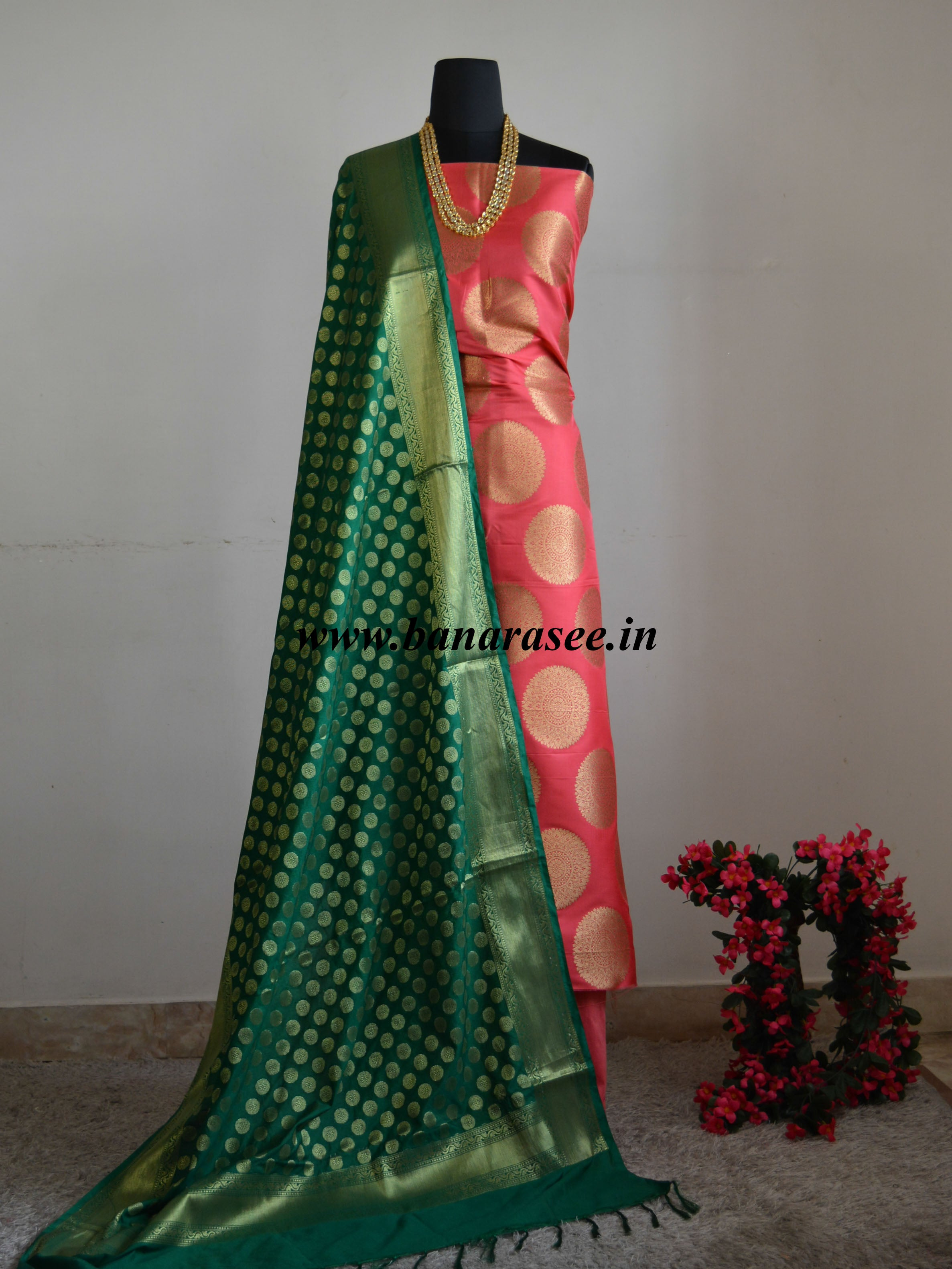 Banarasee Handwoven Satin Brocade Salwar Kameez Fabric & Green Art Silk Dupatta-Peach