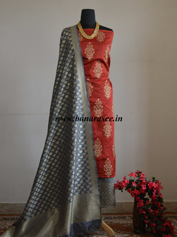 Banarasee Salwar Kameez Chander Cotton With Gold Print Fabric & Grey Dupatta-Red & Grey