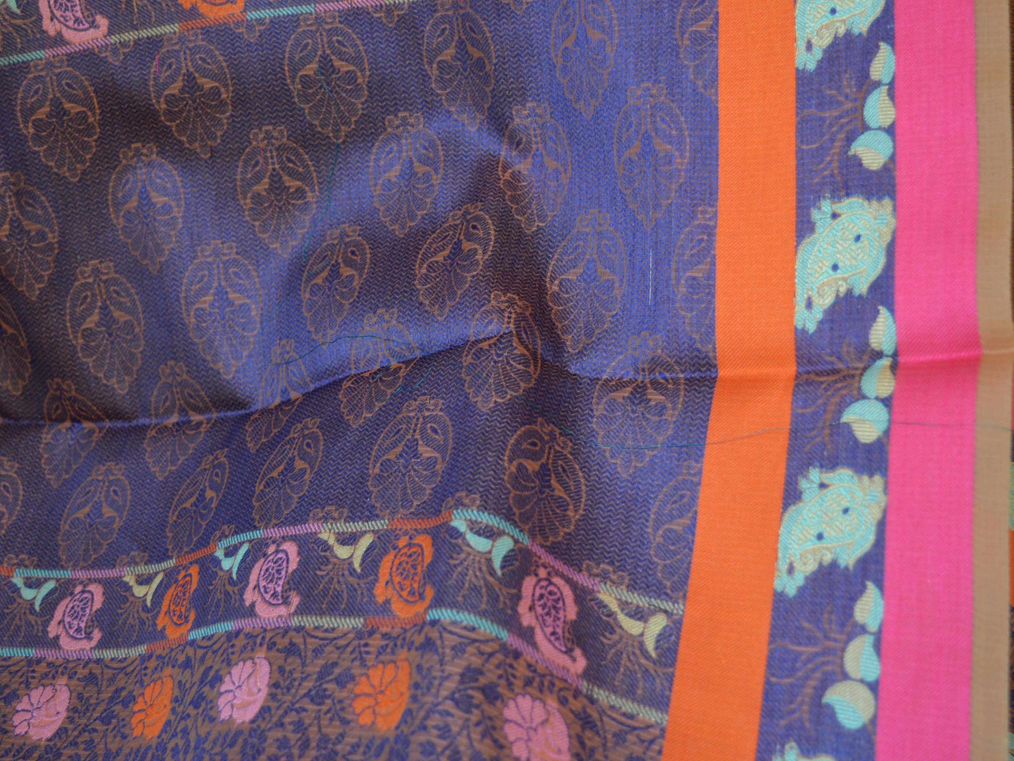 Banarasee Organza Mix Saree With Tanchoi Weave & Multicolor Resham Floral Design-Purple