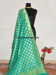Banarasee Art Silk Dupatta Leaf Motif Design-Sea Green