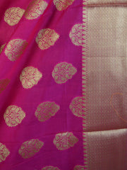 Banarasee Art Silk Zari Drop Buta Design Dupatta-Hot Pink