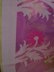 Banarasee Organza Mix Saree With  Jaal Design & Floral Border-Pink