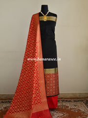 Banarasee Chanderi Cotton Salwar Kameez Broad Border Design Fabric With Contrast Dupatta-Black